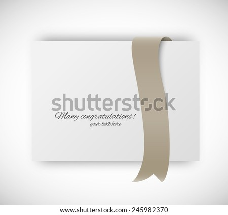 Paper card with ribbon tape in brown color - stock vector