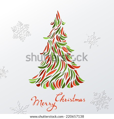 Paper Christmas background. Festive Christmas tree. Vector template. There is place for your text. - stock vector