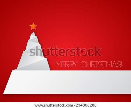 Paper Christmas tree - stock vector