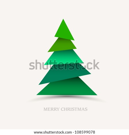 Paper christmas tree. Vector new year card - stock vector