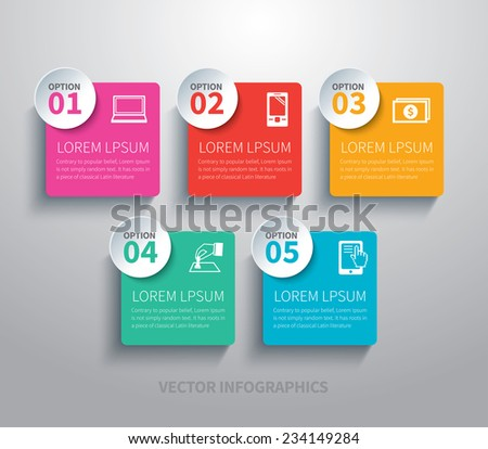 paper circle  and square infographic - stock vector