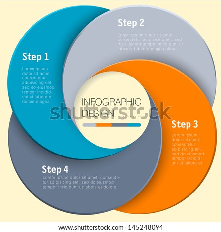 Paper circle vector infographic step by step flat design template - stock vector