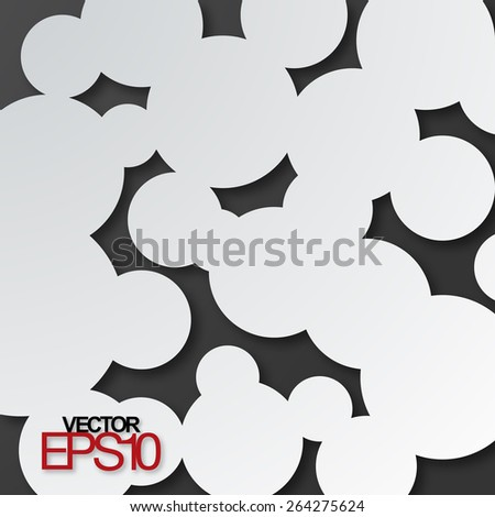 Paper circles with drop shadows on black. Vector illustration - stock vector