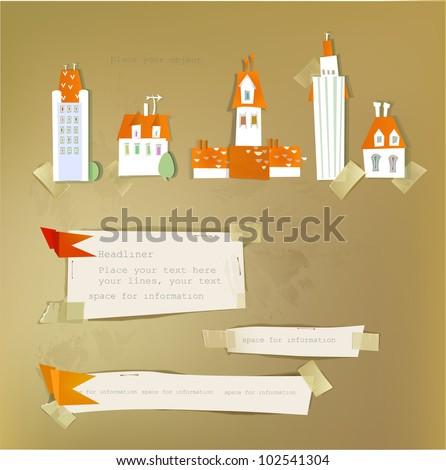 paper city set - stock vector