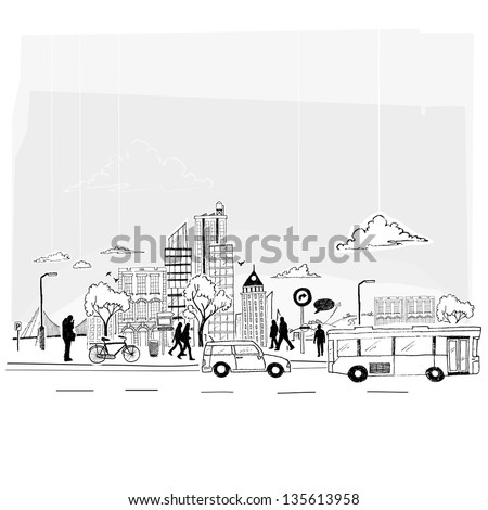 Paper City Vector. City lifestyle, cut out paper and pen style. - stock vector