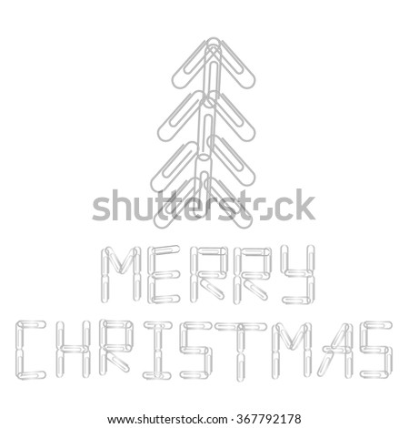 """Paper clip Christmas tree with """"Merry Christmas"""" text, used for stationery goods, business office and school supplies shop sale advertisements,  vector illustration - stock vector"""