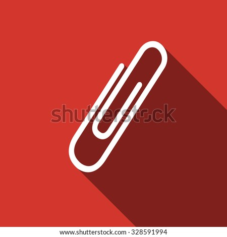 Paper Clip icon with long shadow. Vector illustration - stock vector