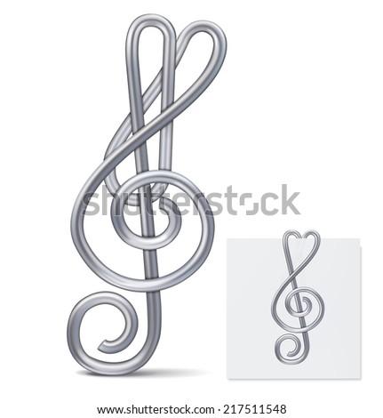 Paper clip (treble clef). Vector illustration  - stock vector