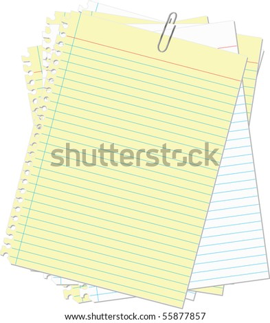 paper  clip yellow and white lined paper - stock vector