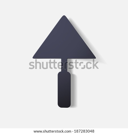 Paper clipped sticker: construction trowel. Isolated illustration icon - stock vector