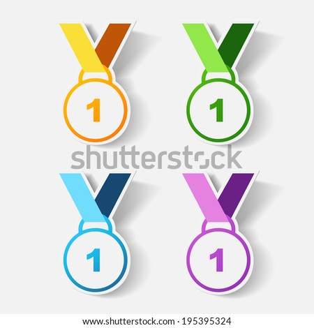 Paper clipped sticker: medal. Isolated illustration icon - stock vector