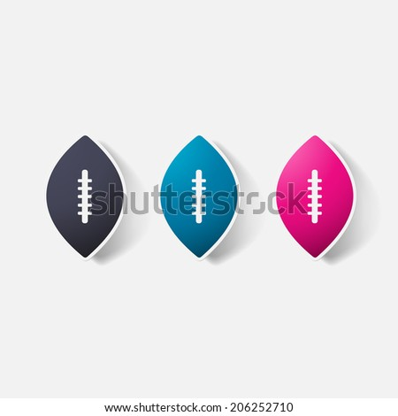 Paper clipped sticker: rugby ball. Isolated illustration icon - stock vector