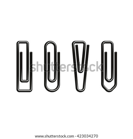 Paper clips, black color, metal, different forms. Isolated on white. Vector illustration - stock vector