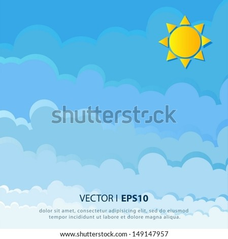 Paper clouds and sun background