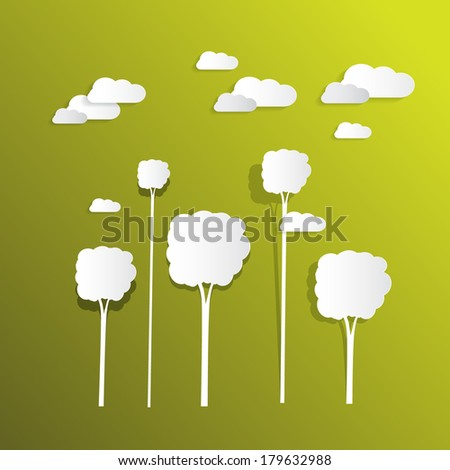 Paper Clouds and Trees on Green Background - stock vector