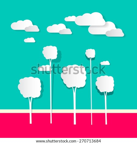 Paper Clouds and Trees Vector - stock vector
