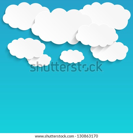 Paper clouds background with place for text - stock vector