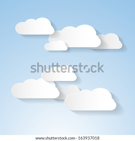 Paper Clouds on Blue Sky