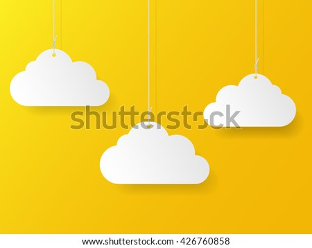 Paper clouds on ropes . Vector illustration. - stock vector