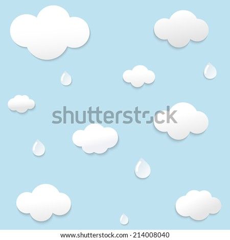 Paper clouds with drop shadows on blue background. Vector illustration