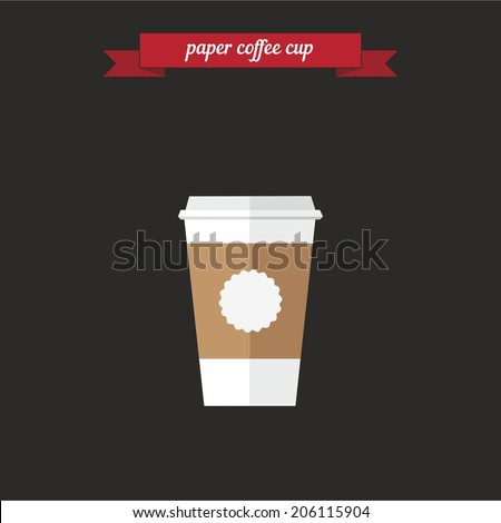 Paper coffee cup. Flat style design - vector - stock vector