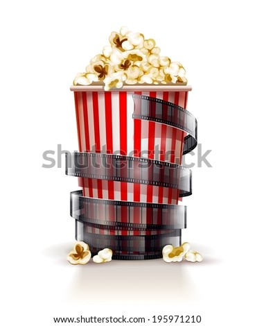 Paper container full of popcorn. Eps10 vector illustration. Isolated on white background - stock vector