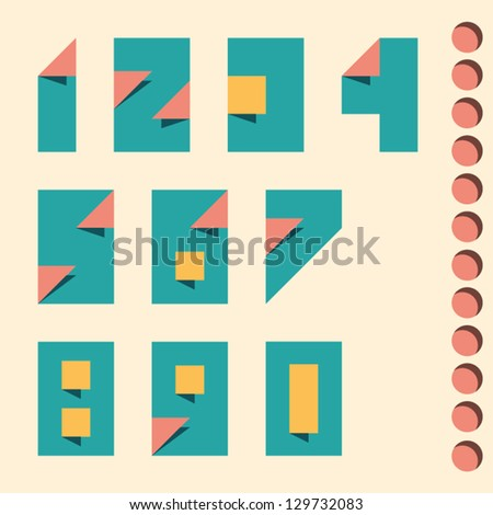 Paper crafting numbers set. Vector.