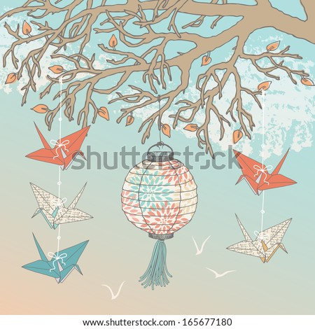 Paper Cranes and Paper Lantern - stock vector