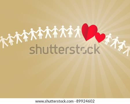 Paper crowd with two hearts - stock vector
