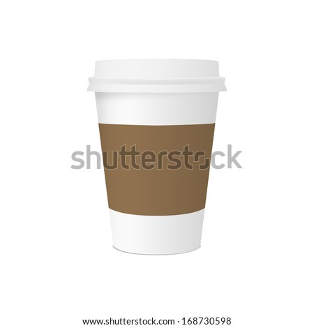 Paper cup for coffee with space for design isolated on white background