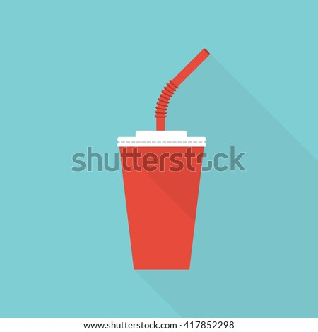 Paper cup icon. Paper red cups with straws for soda or cold beverage. Vector illustration flat design. Isolated cup with long shadow. Drink icon. Fast food drink icon. - stock vector