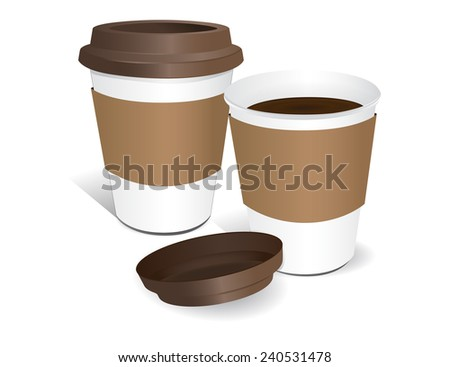 Paper cup of coffee white background