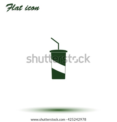 Paper cup template for soda or cold beverage. - stock vector