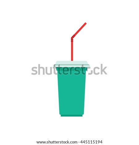 Paper cup template for soda or cold beverage with drinking straw, isolated on white background. Packaging collection. Vector illustration. - stock vector