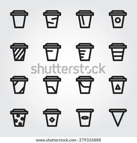 paper cup vector icons - stock vector