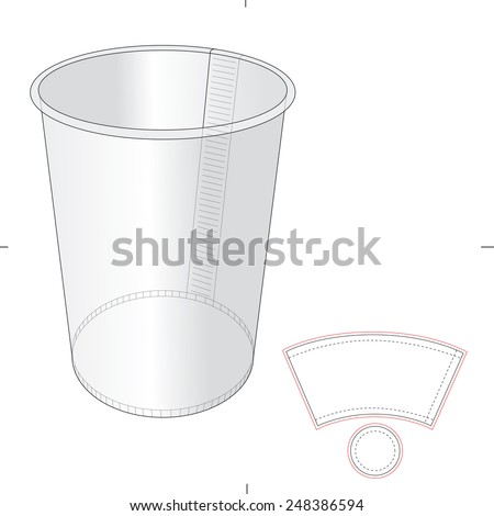 Paper Cup with Die Cut Template - stock vector
