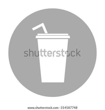 Paper cup with drinking straw icon. - stock vector