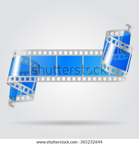Paper curled film with blue transparent frames. Movies concept. Vector illustration - stock vector