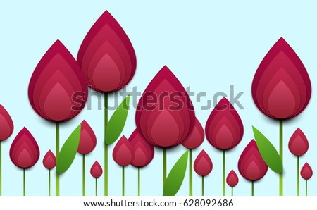 paper cut cartoon red tulips realistic stock vector royalty free