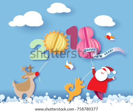 Paper cut design and craft winter landscape with reindeer, Santa Claus, dog and digit 2018. Holiday New year and Merry Christmas card. Vector illustration