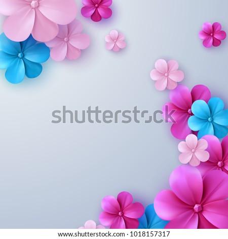 3d flowers stockafbeeldingen rechtenvrije afbeeldingen en vectoren paper cut floral background vector illustration of colorful paper flowers origami style decoration mightylinksfo Choice Image