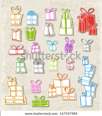 Paper-cut gift boxes.. Realistic shadows. Vector illustration.  - stock vector
