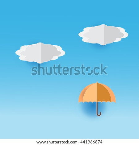 paper cut or origami; paper cut of colorful umbrella with paper cut of blue sky and white clouds background for children or kids - stock vector