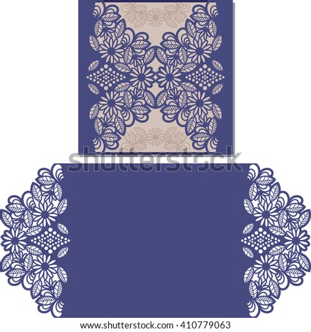 Paper cut out card. Laser cut pattern for invitation card for wedding. Paper cutouts. Wedding invitation template. - stock vector