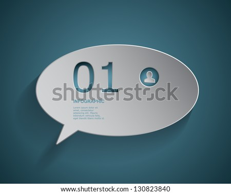 Paper cut out chat box - stock vector