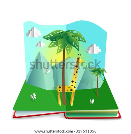 Paper cut out illustration: giraffe standing near the palm, with mountain landscape on the background. Pop up book. - stock vector