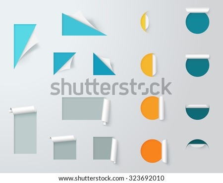 Paper Cut Out Labels Pealed Back Template 2  - stock vector