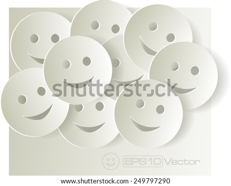 Paper cut out smiley faces on light background. Vector illustration - stock vector