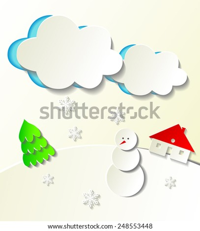Paper cut out winter concept. Vector illustration - stock vector