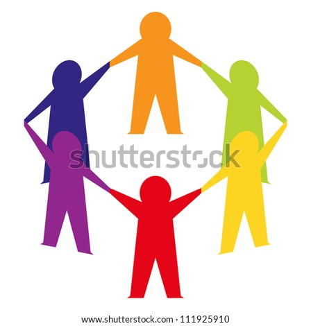 Paper cut people crowd isolated on white - stock vector